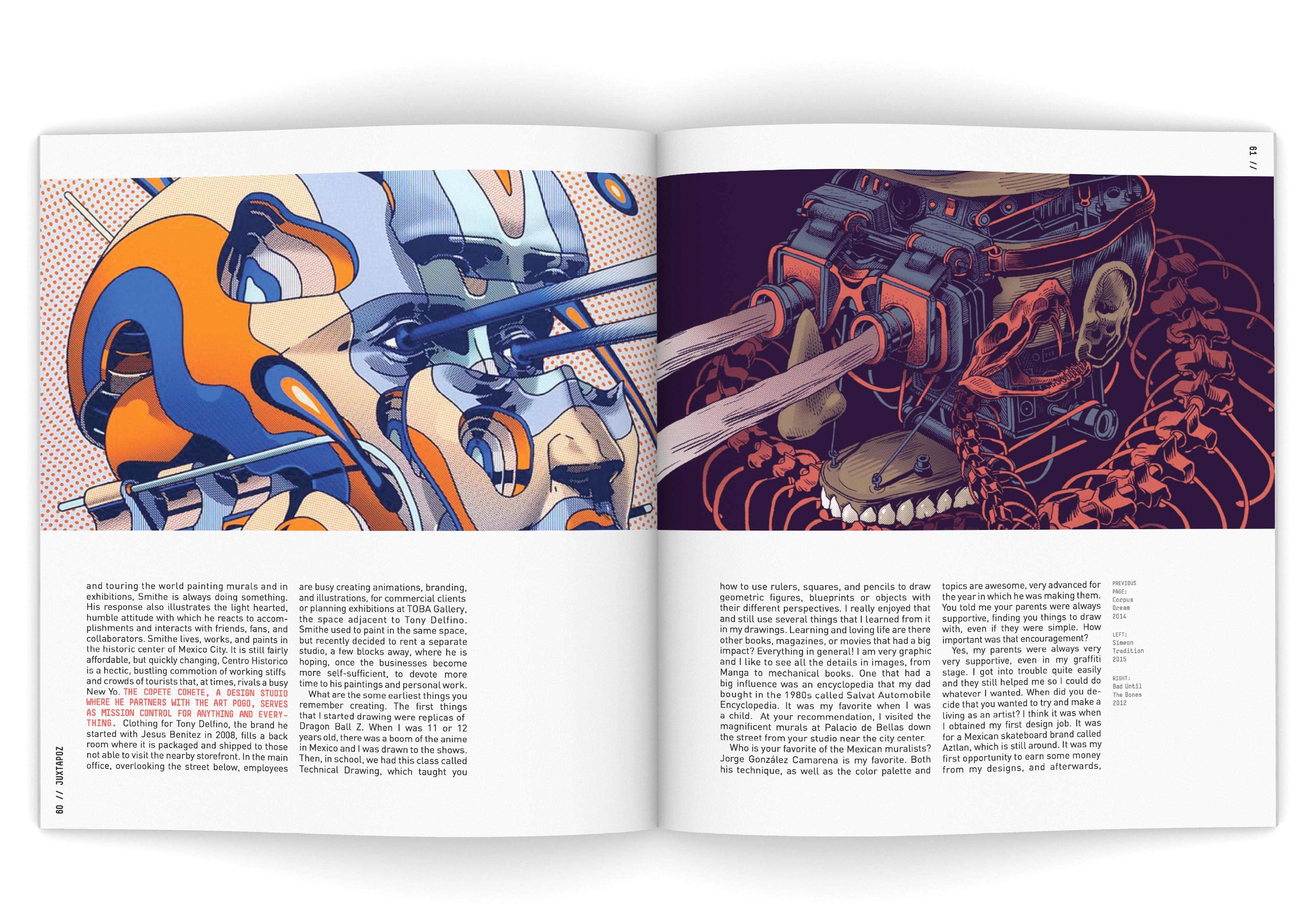 Juxtapoz graphic design magazine layout