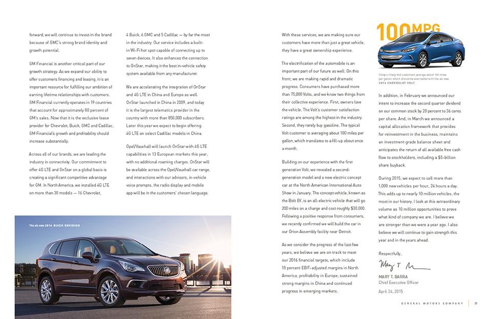 General Motors 2014 Annual Report Graphis